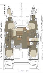 Dufour 48 catamaran layout