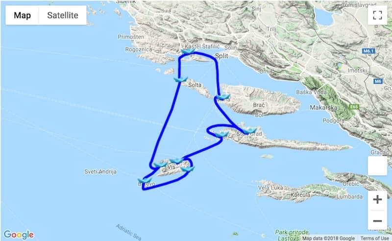 Split area itinerary Trogir-Vis-Hvar